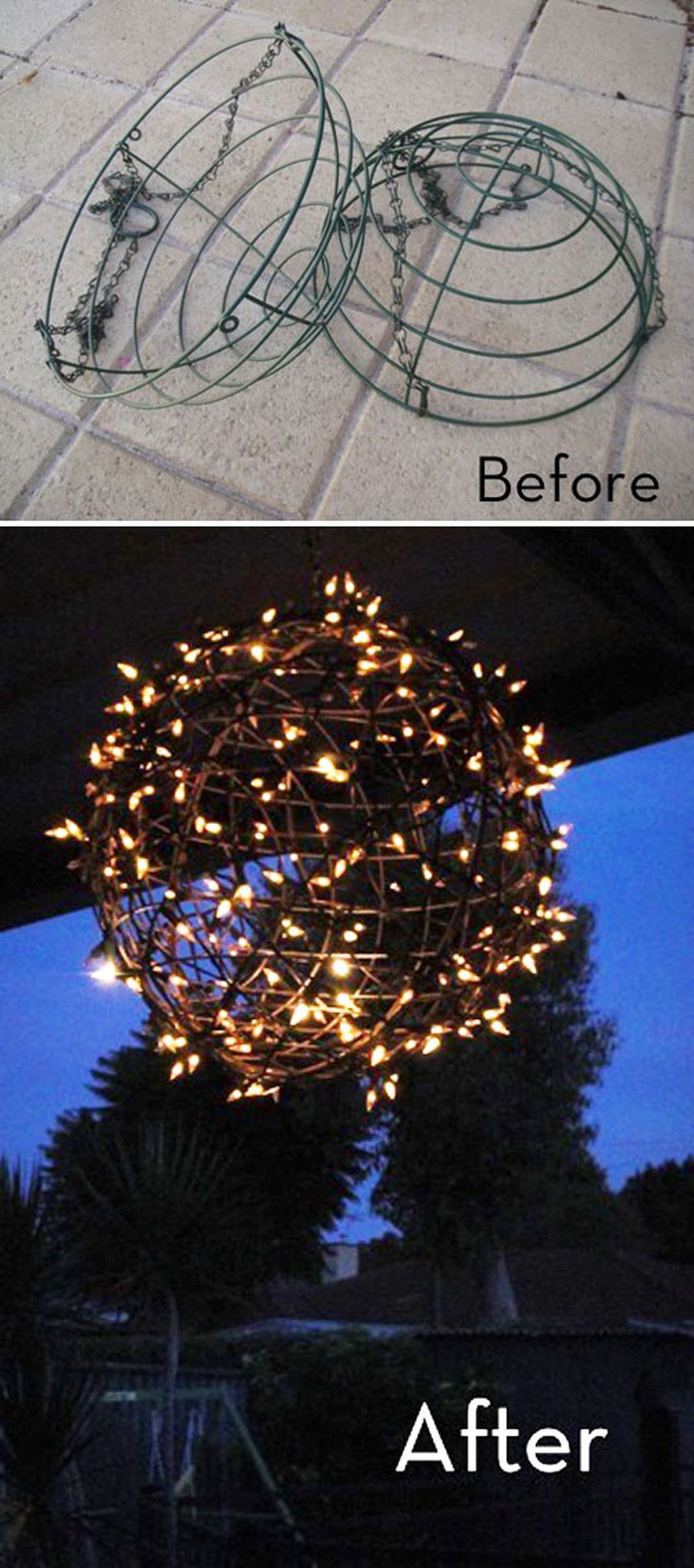 Сделайте изящное украшение для сада из светящейся гирлянды
