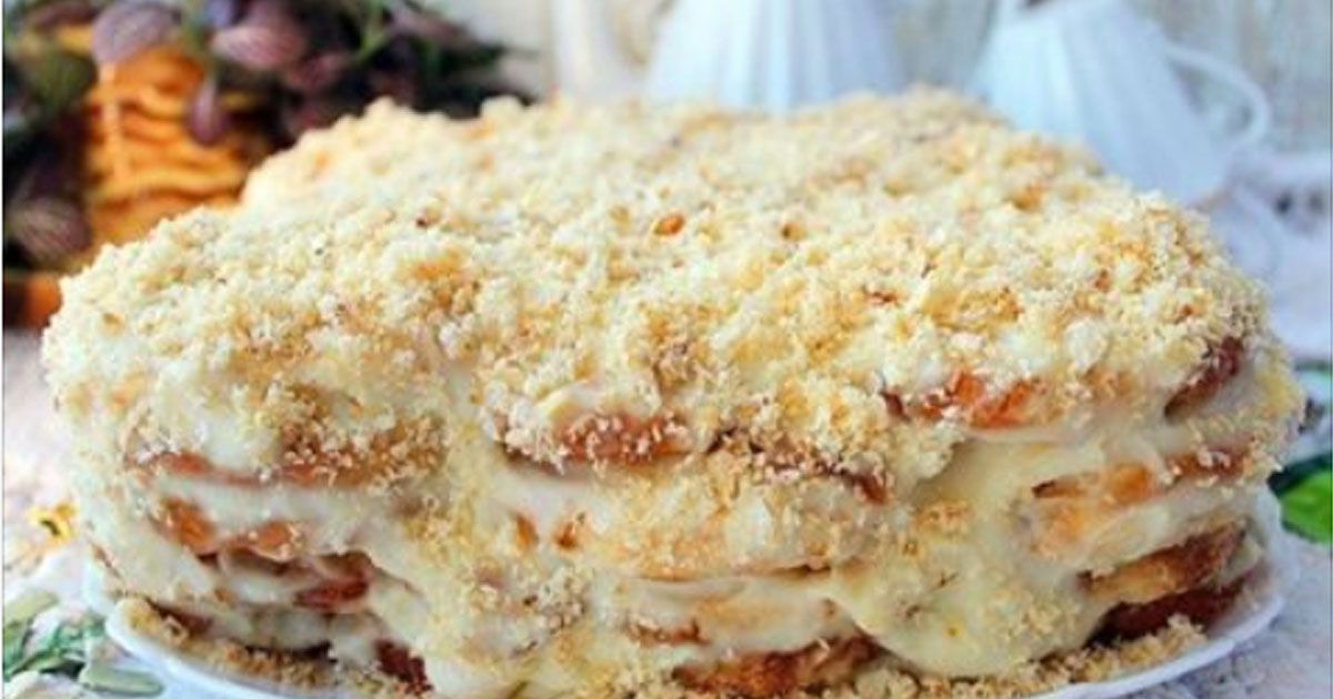 Самый ленивый торт из печенья «Ушки». Готовится без выпечки!
