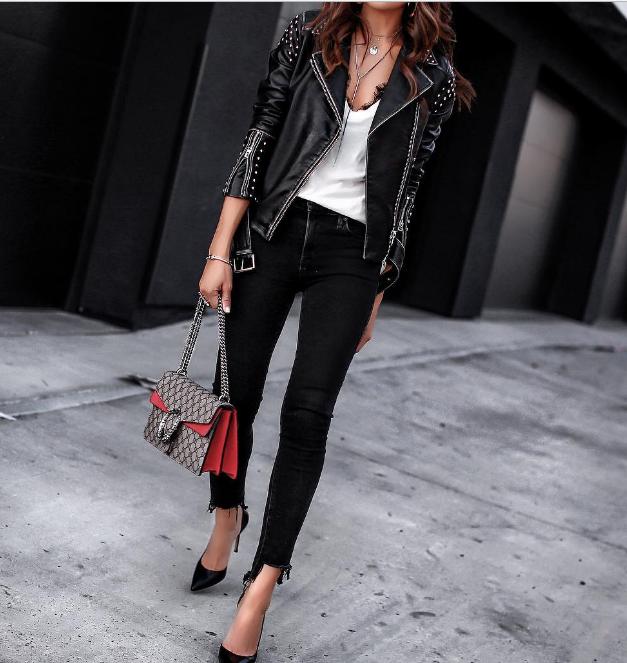Какие куртки будут модными этой весной? 20 шикарных образов со стильной кожаной косухой!