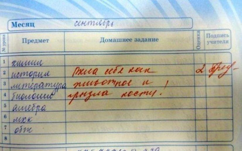 Гениальные записи в школьных дневниках, которые рассмешили даже родителей