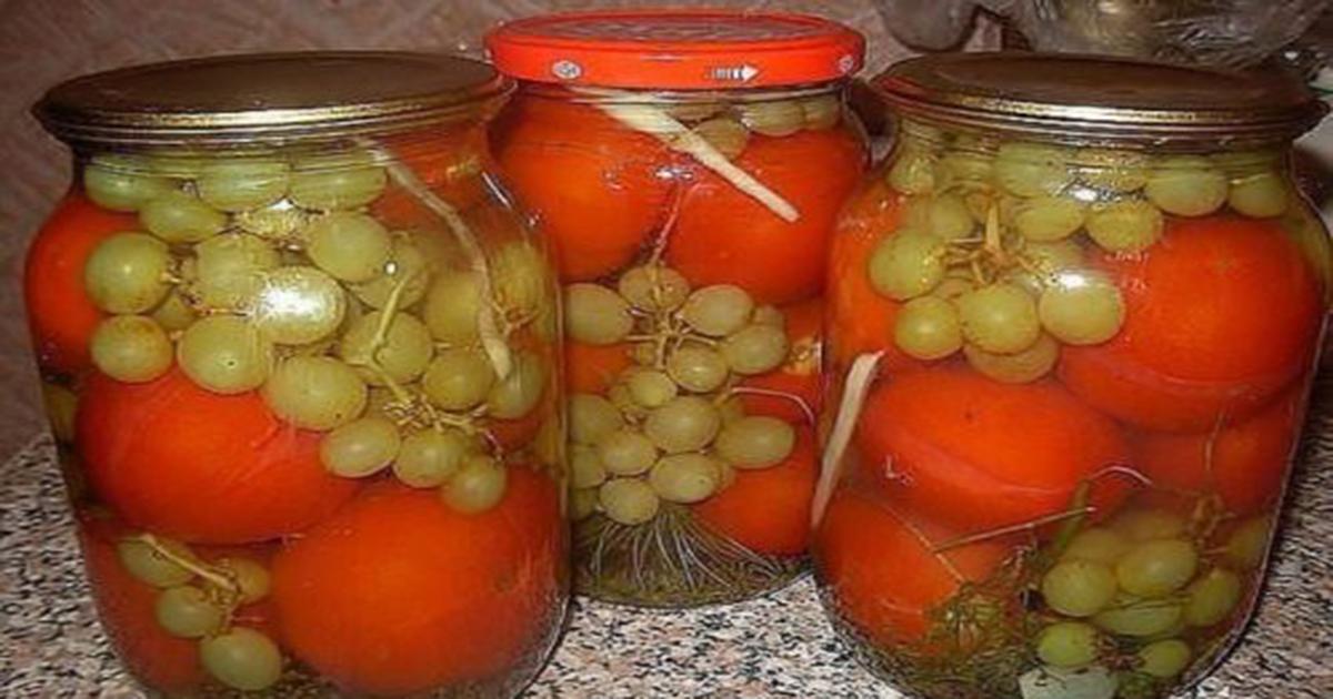 Я просто обожаю этот рецепт! Помидоры с виноградом (БЕЗ УКСУСА!)