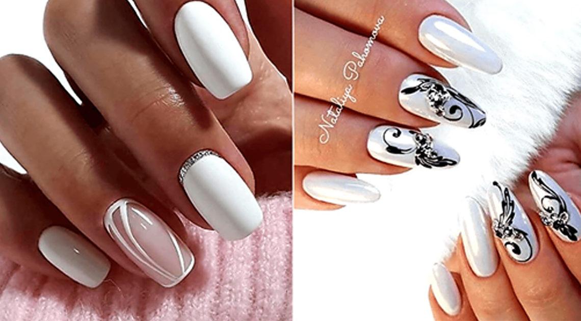 Модно, красиво, стильно — белоснежный маникюр с дизайном